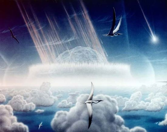 Artist's impression of a giant asteroid slamming into Earth 65 million yr ago near Mexico's Yucatan Peninsula. Scientists now say this was what caused the end of the Age of Dinosaurs
