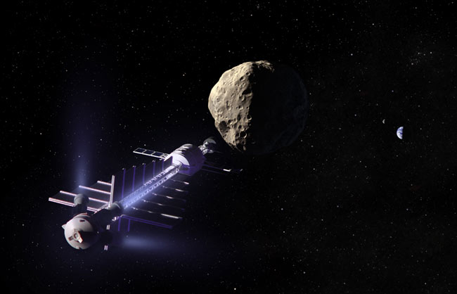 A concept spacecraft could use gravity to tow asteroids away from a collision course with earth