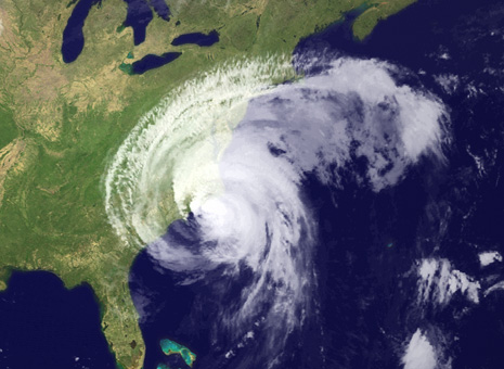 An atmospheric image of Hurricane Irene on the U.S. east coast in August 2011 - NOAA