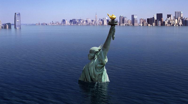 What the Statue of Liberty and New York City skyline would look like after a massive storm surge by the end of the 21st Century due to global warming and rising sea levels