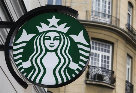 Starbucks logo displayed outside a Starbucks store in Warsaw, Poland