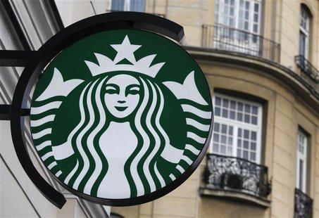 Starbucks logo displayed outside a Starbucks store in Warsaw, Poland