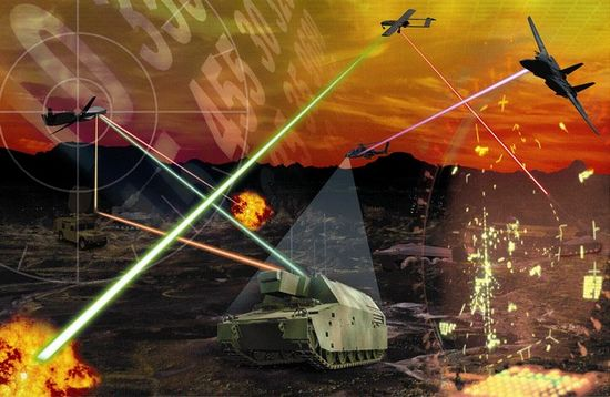 Artists concept of the HELLADS portable laser weapons system by General Atomics Aeronautical Systems