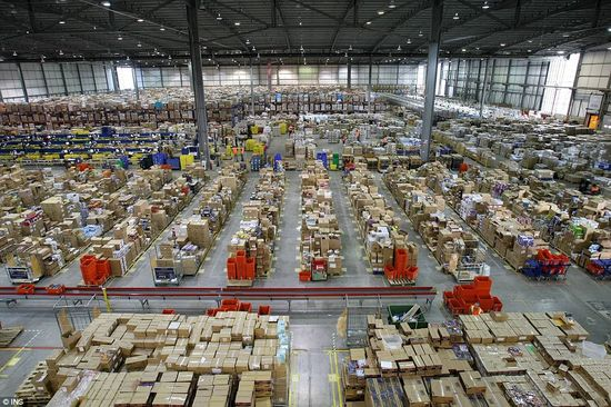 An Amazon order fulfillment warehouse near Milton Keynes, U.K. has everything you can think of and then some