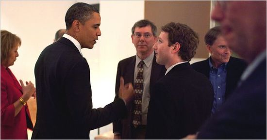 President Obama at dinner party held by VC John Doerr with Facebook CEO Mark Zuckerberg in business suit and tie
