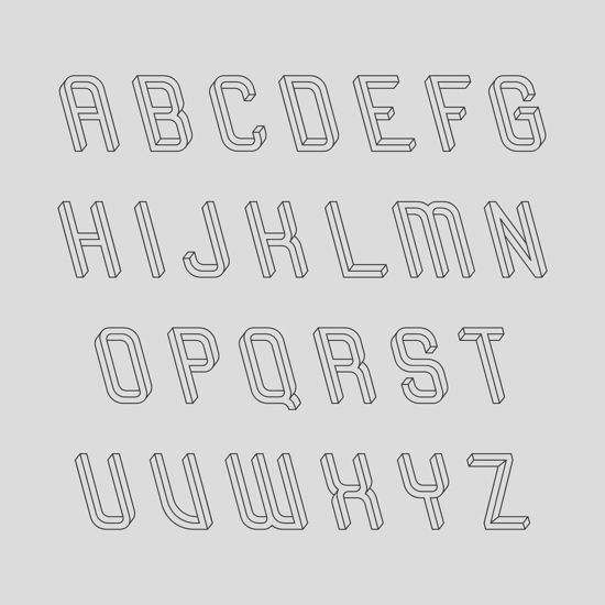 Frustro 3D typeface 2