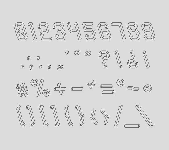 Frustro 3D typeface 4