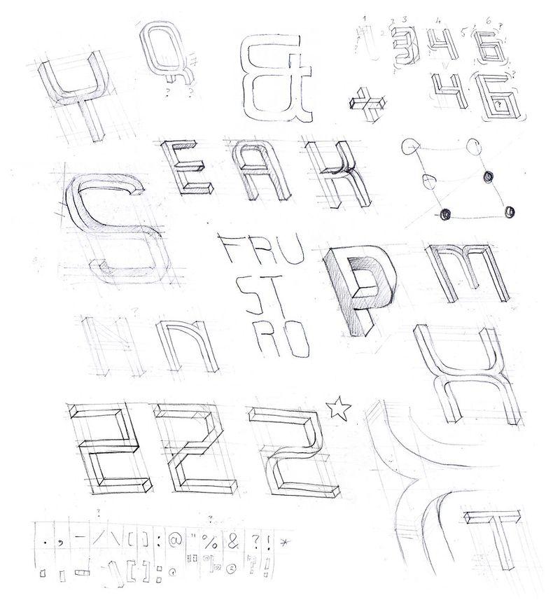 Frustro 3D typeface 6