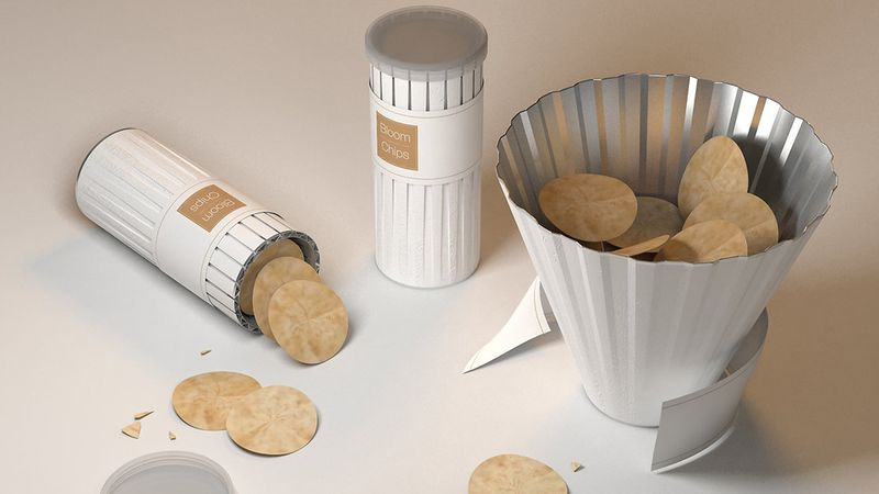 The new Bloom Chips package unfurls into a bowl to replace the old boring Pringle's potato chips tube