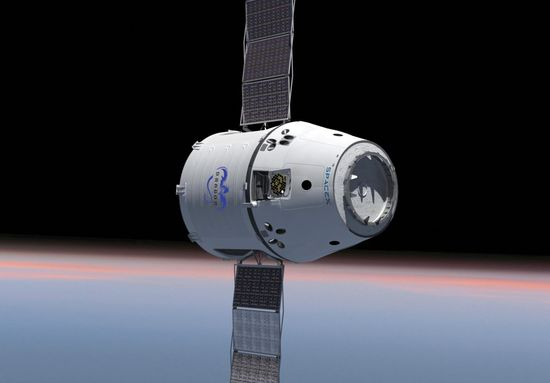 SpaceX Dragon Spacecraft in outerspace orbit