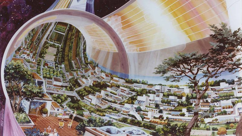 NASA's Psychedelic Concepts From The 1970s - Space housing units inside a huge mothership
