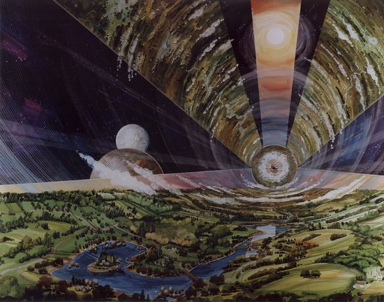NASA's Psychedelic Concepts From The 1970s - Inside huge mothership shows landscape enclosed in glass