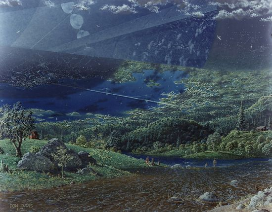 NASA's Psychedelic Concepts From The 1970s - Scene of landscape that includes hills, lakes and bridges like on Earth inside a motership