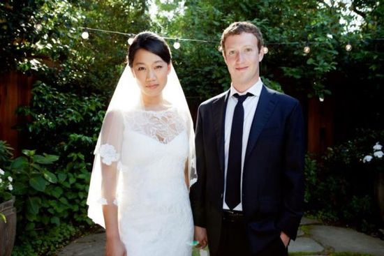 Mark Zuckerberg and Priscilla Chan wedding picture
