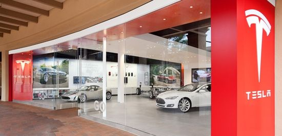 Tesla Motors Design Studio located in the Fashion Island Mall in Newport Beach, California