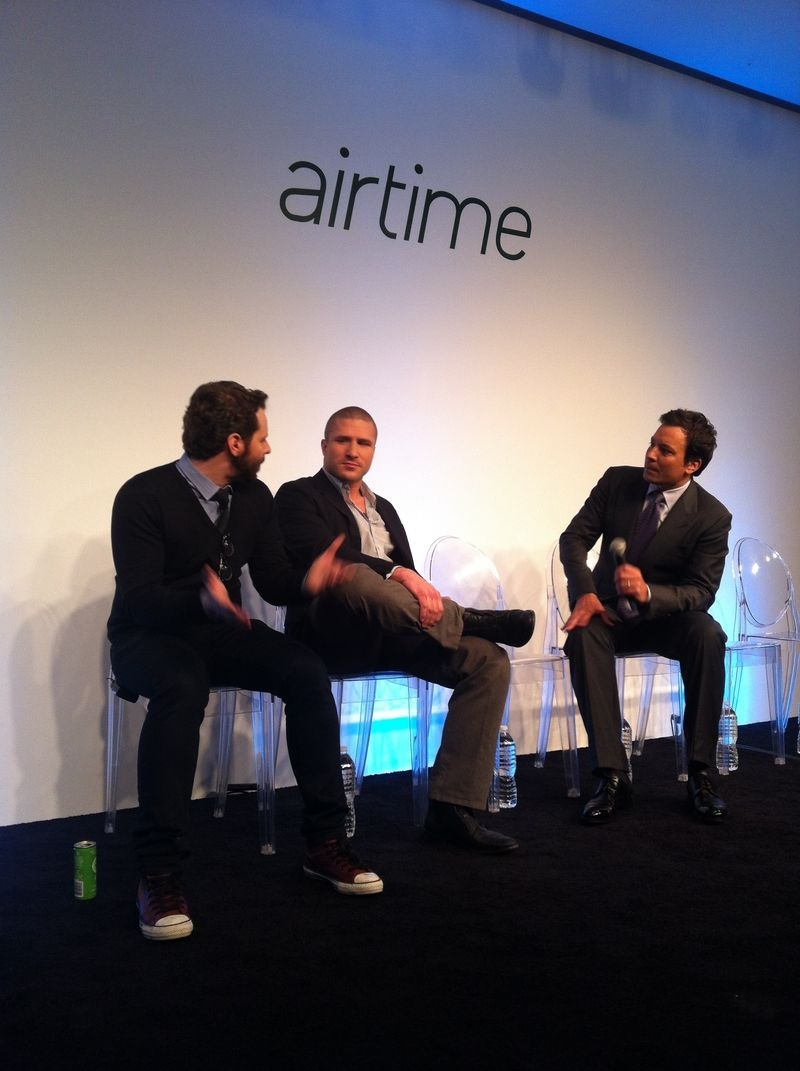 Sean Parker (left) and Shawn Fanning (center) co-founder of online music sharing site Napster appear on stage with Jimmy Fallon at the Airtime launch