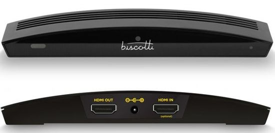 Front and rear of the Biscotti set-top video box. Comes with HDMI port and camera and costs only $199 SRP, but you can only call other biscotti devices