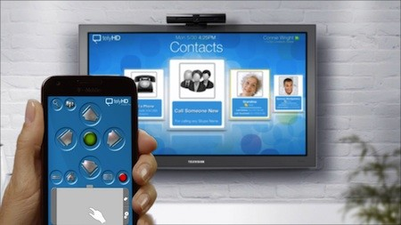 Telyhd remote controller and HDTV screen showing how you can make peer-to-peer video chat calls using your contact list