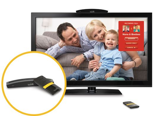 Biscotti set-top box and remote controller showing vidoe chat call on HDTV screen