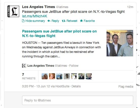 Sample of Twitter's expanded content feature showing a tweet from the Los Angeles Times