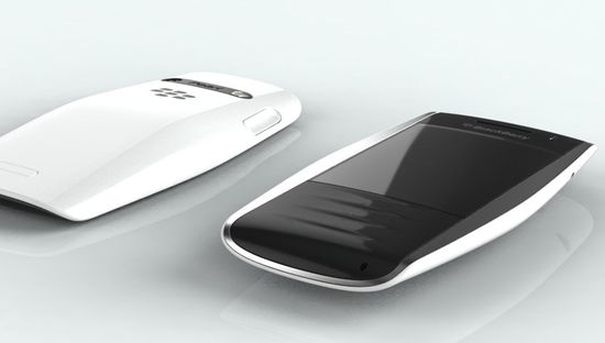 BlackBerry Urraco Concept phone in white, front and rear view