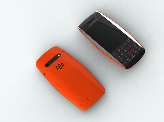 BlackBerry Urraco Concept phone in orange showing front and rear views