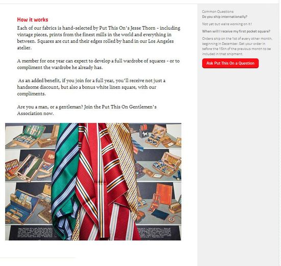 Memberly's 'The Put This On Gentlemen's Association' Showcase Page for Hand-selected pocket squares 2