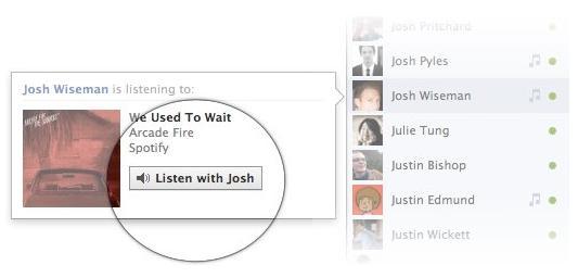 Facebook's Listen-With-Friends social music listening feature
