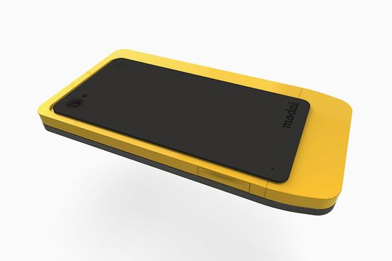 Modai concept smartphone, the phone with replaceable brains, back includes a peel-back cover that serves as a stand