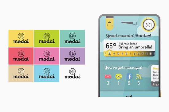 Modai concept smartphone, the phone with replaceable brain shows battery juice, temperature, mail, txt msgs, facebook updates and RSS feeds for you
