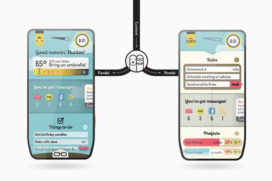 Modai concept smartphone, the phone with replaceable brain displays Thjings To do, and Projects with due dates