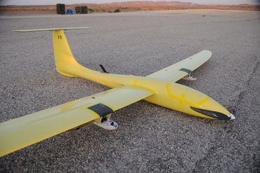 The Tempest UAV airframe, designed and built by UASUSA, Boulder, Col., has a wingspan of nearly 10 feet and is constructed using fiberglass and carbon fiber composites
