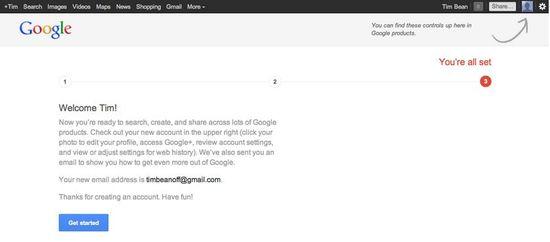 Google New Account Welcome Screenshot