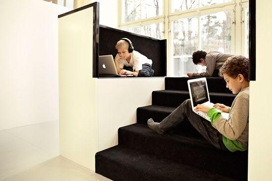 Vittra Telefonplan School is designed for children to work with labtops by Swedish design firm Rosan Bosch
