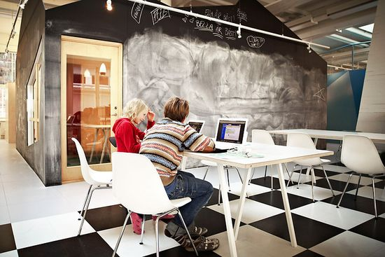 Vittra Telefonplan School's 'Lunch Club' is both a place for working and eating by Swedish design firm Rosan Bosch