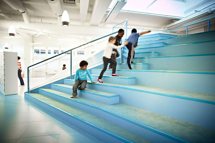 Vittra Telefonplan School's 'The Mountain' is a platform and look out post for the kids by Swedish design firm Rosan Bosch