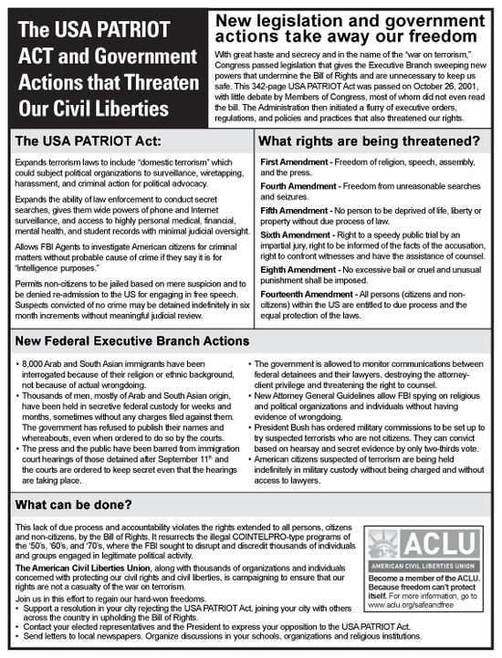 US Patriot Act - Major Provisions and Rights Threatened