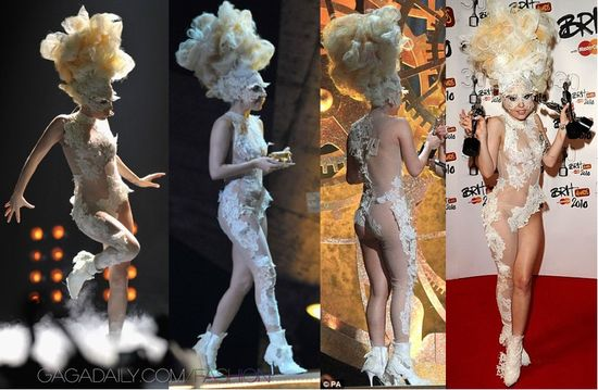 Lady Gaga wearing a Alexander McQueen see-through outfit (one of my favorites) for the 2010 Brit Awards