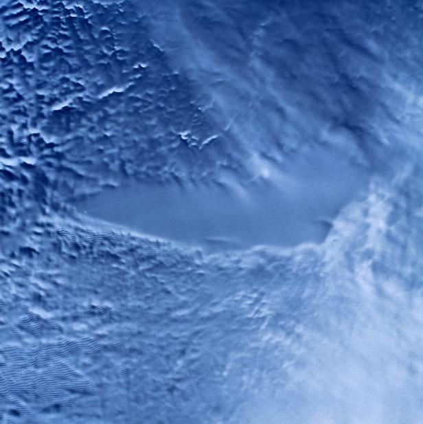 A radar satellite image of the ice over Lake Vostok, a freshwater lake with a surface area of 14,000 square kilometres, that is under 4 kilometres of ice