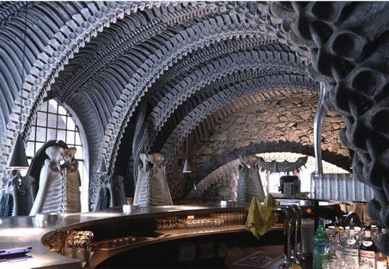 Interior of the HR Giger 'Alien' Bar in the HR GIger Museum in Gruyeres, Switzerland 1