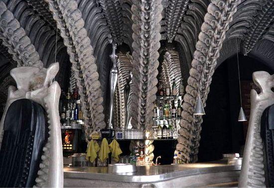 Interior of the HR Giger 'Alien' Bar in the HR GIger Museum in Gruyeres, Switzerland 3