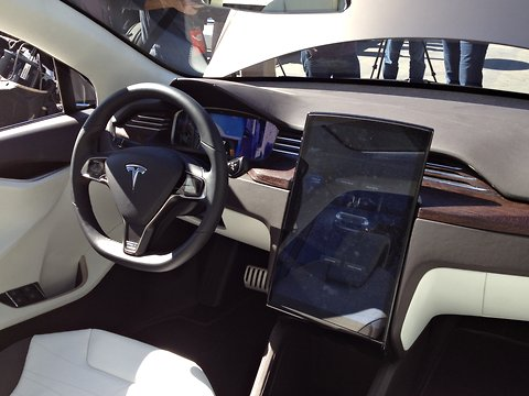 The prototype's interior, with a central digital interface similar to that found in the Model S
