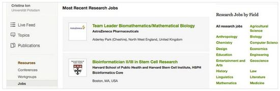 ResearchGate also allows users to list Job Offers