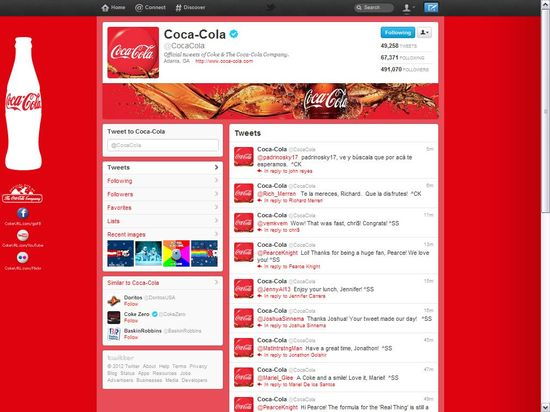 Coca-Cola's Twitter brand page