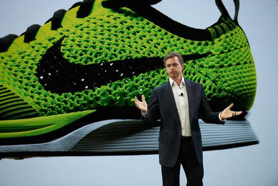 Nike CEO Mark Parker unveils the new Flyknit shoe