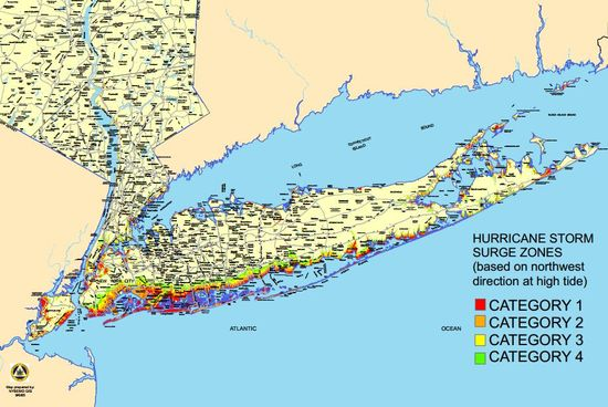 Simulation map shows flooding to Long Island and NYC due to global warming and rising sea levels with hurricane storms of different magnitudes by the New York State Emergency Management Office