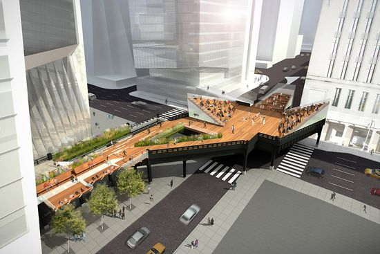 High Line at the Rail Yard - The designers might use this wide platform prev used to transport mail into an amphitheater