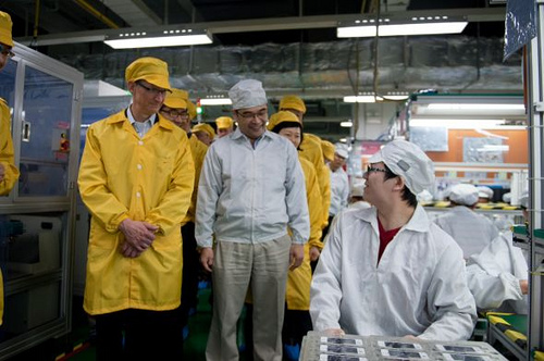 Foxconn plant worker tells the General Manager, 'Yes, Master Wong, iPhone for Apple evangelists come first as ordered. Keep evangelists very happy.'