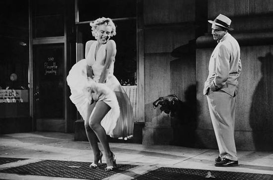 Marilyn Monroe in her famous dress skirt scene from the film 'The Seven Year Itch'