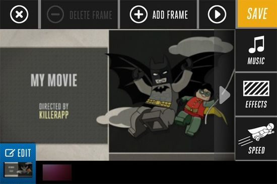 LEGO Super Hero Movie Maker app combines frames from pictures you take with music and special effects to create real movies